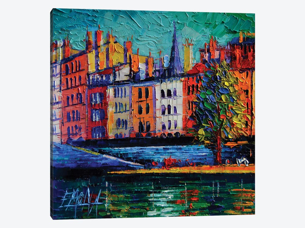 Colorful Waterfront In Lyon France by Mona Edulesco 1-piece Canvas Artwork
