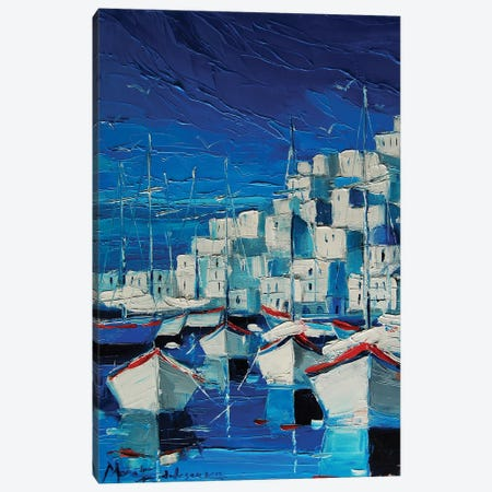 Greek Harbor Canvas Print #MGE23} by Mona Edulesco Canvas Art
