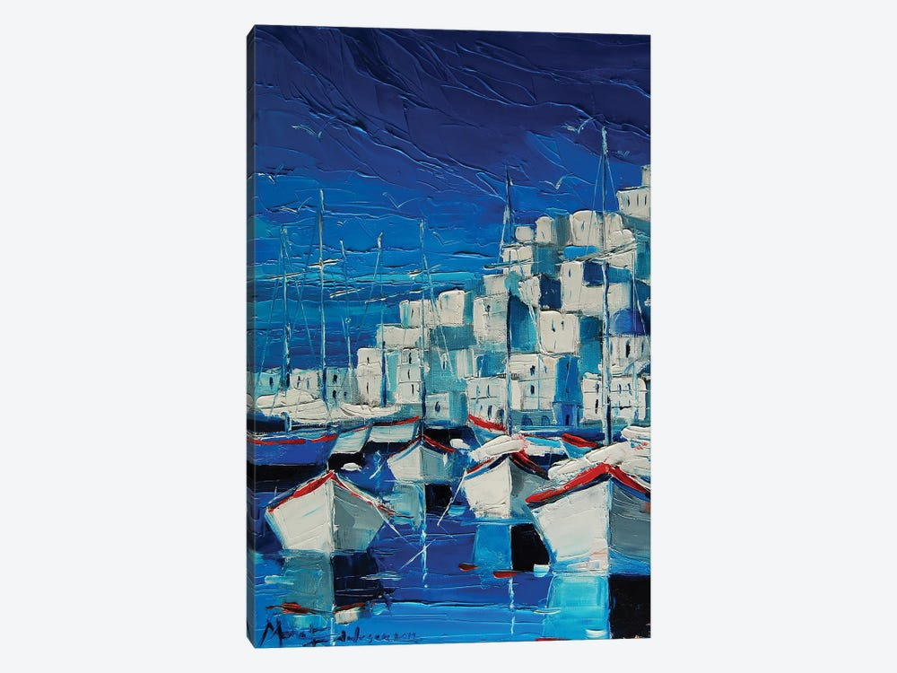 Greek Harbor by Mona Edulesco 1-piece Canvas Artwork