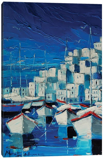 Greek Harbor Canvas Art Print