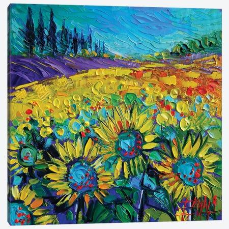 Happy Tournesols Canvas Print #MGE24} by Mona Edulesco Canvas Art Print
