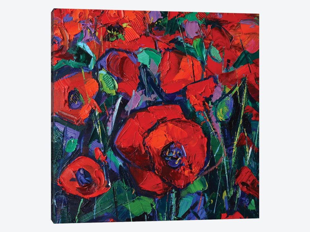Hot Poppies by Mona Edulesco 1-piece Canvas Art