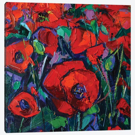 Hot Poppies Canvas Print #MGE25} by Mona Edulesco Canvas Art Print