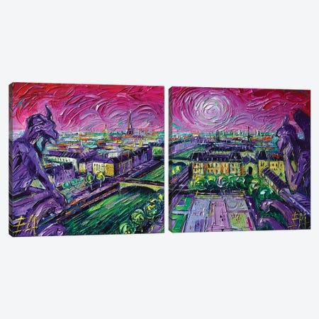 Paris View with Gargoyles Diptych Canvas Print Set #MGE2HSET001} by Mona Edulesco Canvas Wall Art