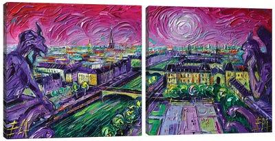 Paris View with Gargoyles Diptych Canvas Art Print
