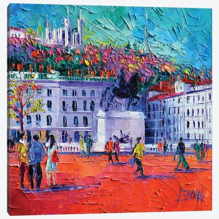 La Place Bellecour à Lyon 3-Piece Canvas #MGE32} by Mona Edulesco Canvas Art Print