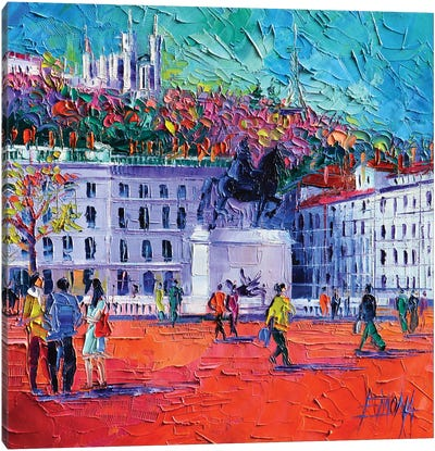 La Place Bellecour à Lyon Canvas Art Print