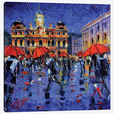 Les Parapluies de Lyon Canvas Print #MGE35} by Mona Edulesco Canvas Art