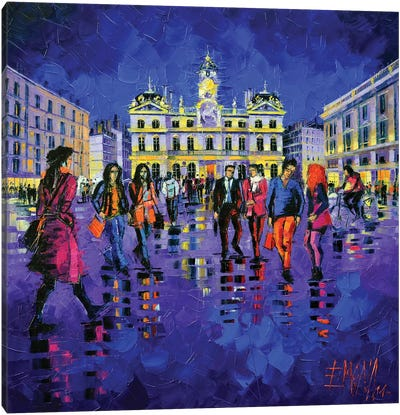Lights And Colors In Terreaux Square Canvas Art Print