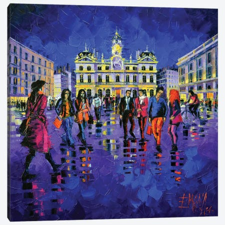 Lights And Colors In Terreaux Square 3-Piece Canvas #MGE36} by Mona Edulesco Canvas Artwork