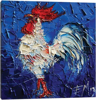 Little Abstract White Rooster Canvas Art Print