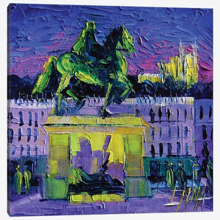 Louis XIV - Bellecour Square By Night Lyon Canvas Print #MGE39} by Mona Edulesco Art Print