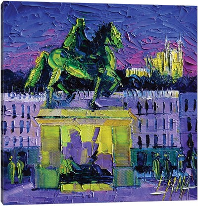 Louis XIV - Bellecour Square By Night Lyon Canvas Art Print