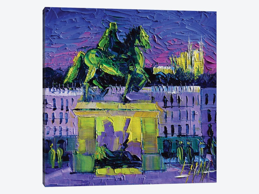 Louis XIV - Bellecour Square By Night Lyon by Mona Edulesco 1-piece Art Print
