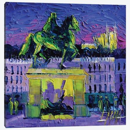 Louis XIV - Bellecour Square By Night Lyon Canvas Print #MGE39} by Mona Edulesco Art Print