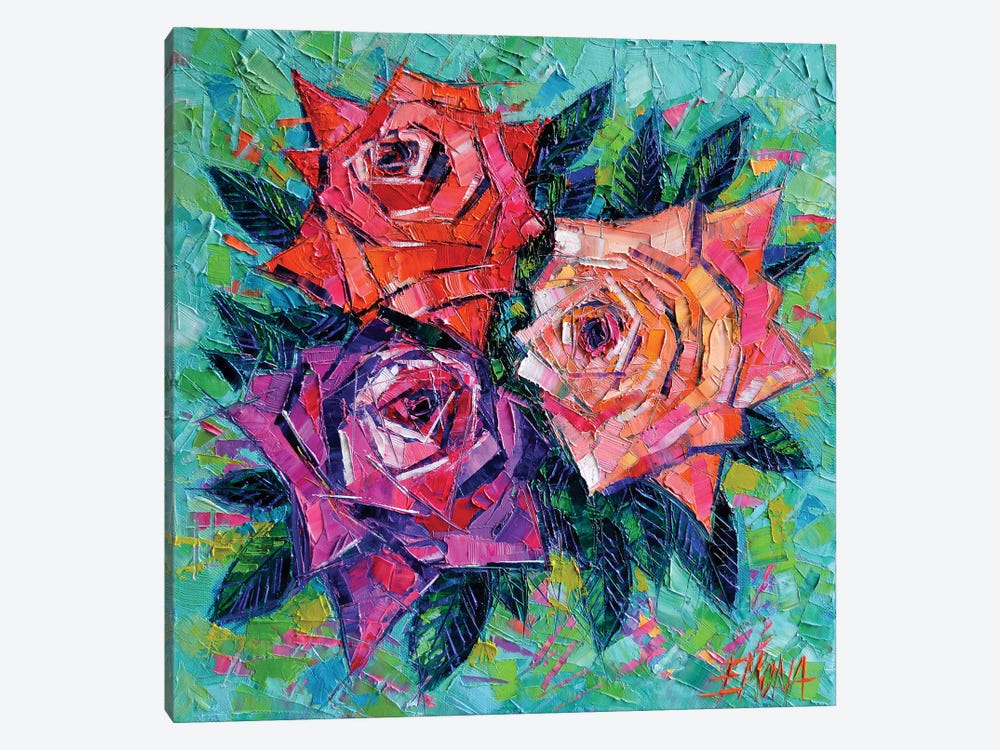 Abstract Bouquet Of Roses by Mona Edulesco 1-piece Canvas Print
