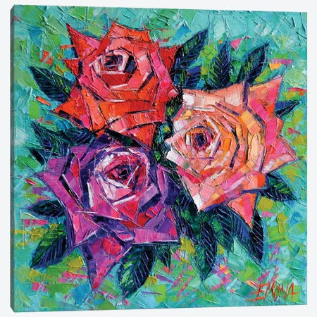 Abstract Bouquet Of Roses Canvas Print #MGE3} by Mona Edulesco Canvas Wall Art
