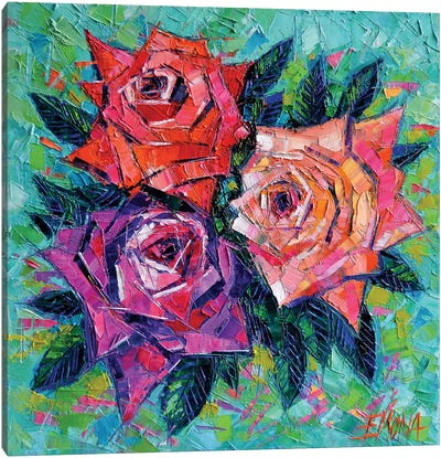 Abstract Bouquet Of Roses Canvas Art Print