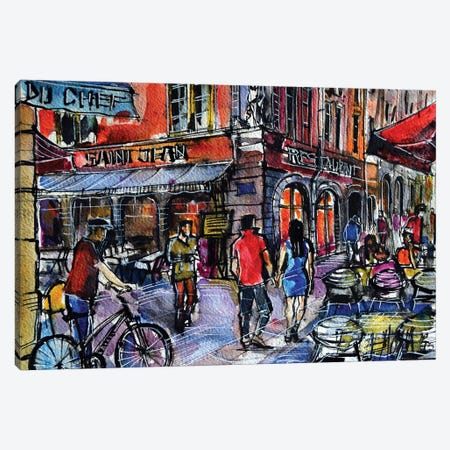 Lyon Cityscape - Rue Saint-Jean Canvas Print #MGE40} by Mona Edulesco Canvas Art