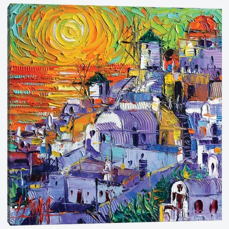 Oia Santorini Magic Light Canvas Print #MGE49} by Mona Edulesco Canvas Wall Art