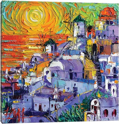 Oia Santorini Magic Light Canvas Art Print