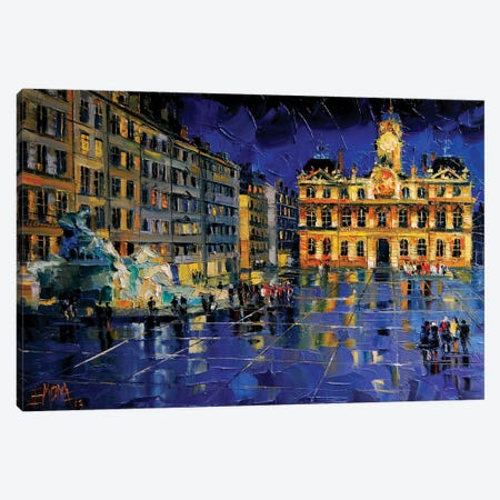 One Evening In Terreaux Square, Lyon Canvas Print #MGE50} by Mona Edulesco Canvas Art Print