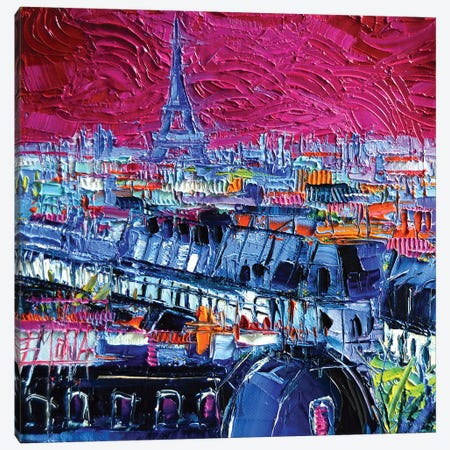 Pink Paris Canvas Print #MGE56} by Mona Edulesco Canvas Artwork