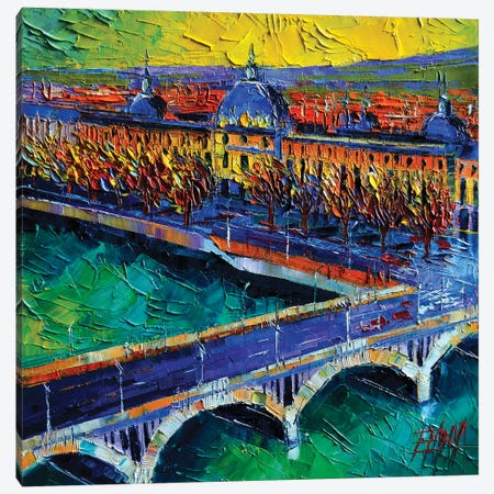 Pont Wilson And Hôtel-Dieu de Lyon Canvas Print #MGE58} by Mona Edulesco Canvas Print