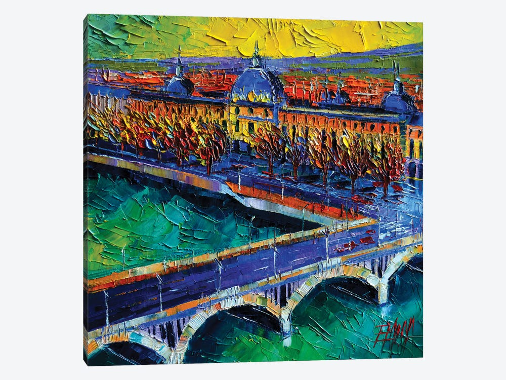 Pont Wilson And Hôtel-Dieu de Lyon by Mona Edulesco 1-piece Canvas Wall Art
