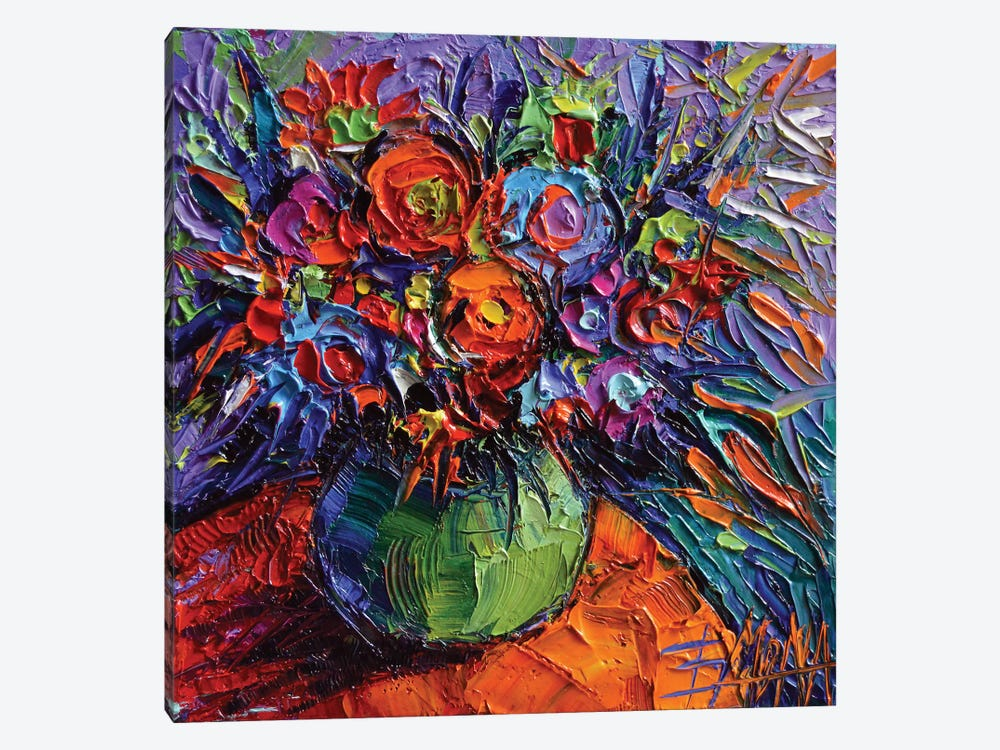 Abstract Floral On Orange Table by Mona Edulesco 1-piece Canvas Print