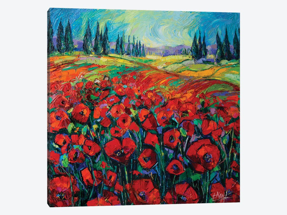 Poppies And Cypresses by Mona Edulesco 1-piece Canvas Print