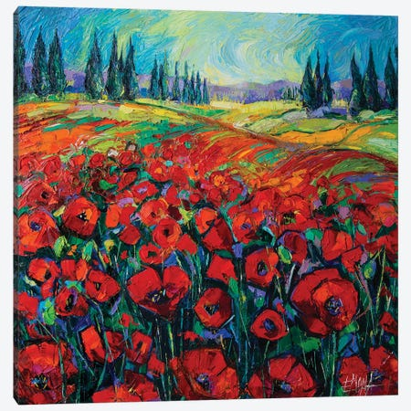 Poppies And Cypresses Canvas Print #MGE60} by Mona Edulesco Canvas Artwork