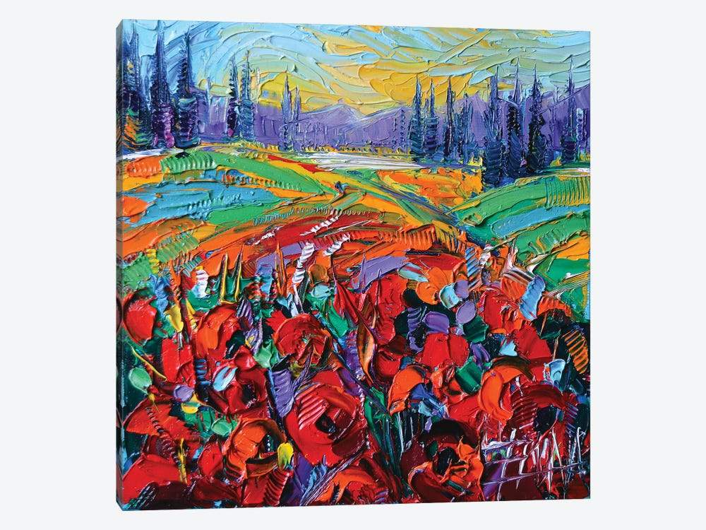 Poppy Field Impression by Mona Edulesco 1-piece Canvas Wall Art