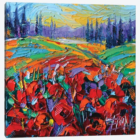 Poppy Field Impression Canvas Print #MGE63} by Mona Edulesco Canvas Art