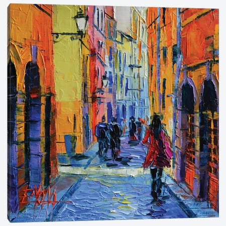 Promenade On Saint Georges Street, Lyon Canvas Print #MGE64} by Mona Edulesco Art Print