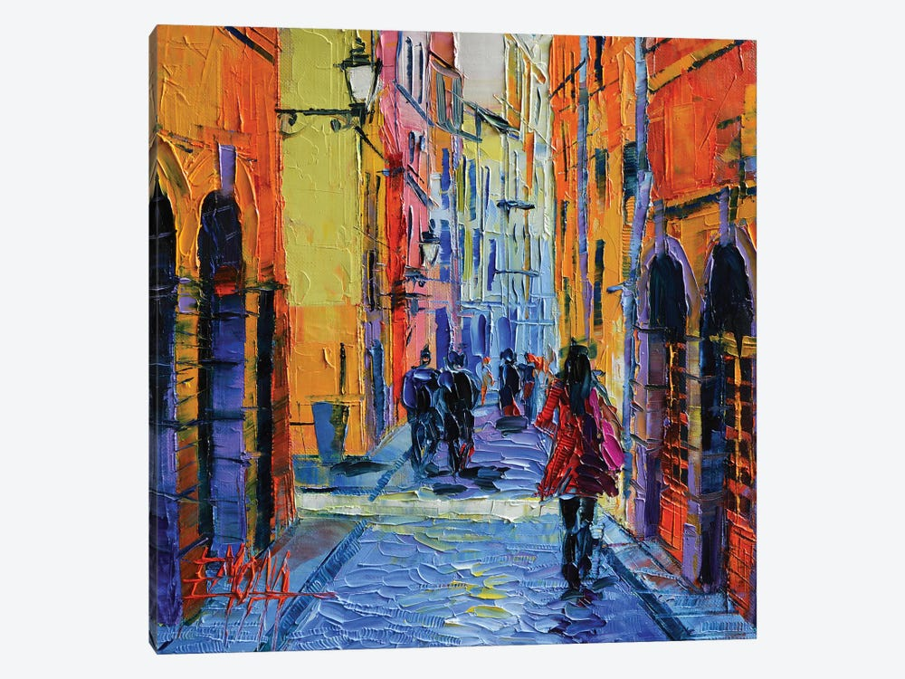 Promenade On Saint Georges Street, Lyon by Mona Edulesco 1-piece Canvas Print