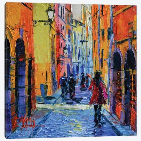 Promenade On Saint Georges Street, Lyon Canvas Print #MGE64} by Mona Edulesco Art Print