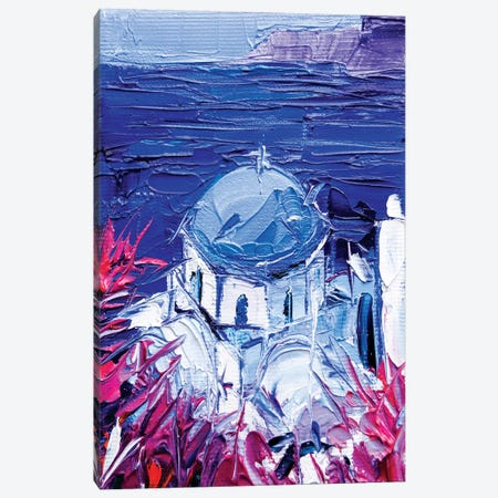 Santorini Church View Canvas Print #MGE66} by Mona Edulesco Art Print