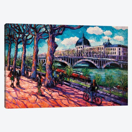 Spring On The Banks Of The Rhône, Lyon France Canvas Print #MGE68} by Mona Edulesco Canvas Artwork