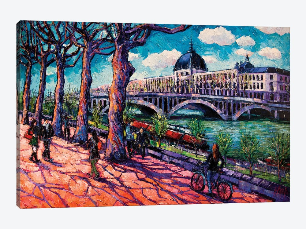 Spring On The Banks Of The Rhône, Lyon France by Mona Edulesco 1-piece Canvas Print