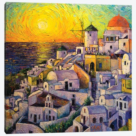 Sunset In Santorini Canvas Print #MGE74} by Mona Edulesco Canvas Art