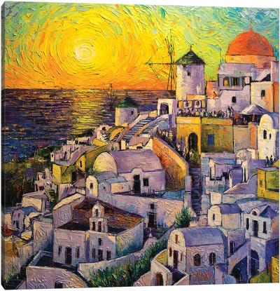 Sunset In Santorini Canvas Art Print
