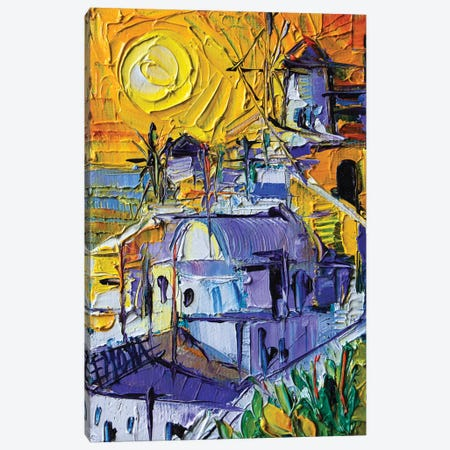 Sunset Light In Oia - Mini Santorini Cityscape Canvas Print #MGE75} by Mona Edulesco Canvas Artwork