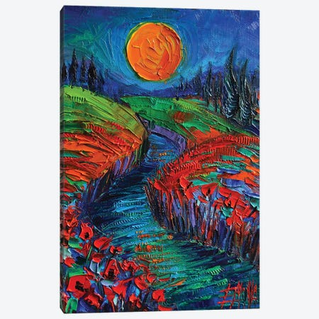 Supermoon And Poppies Canvas Print #MGE77} by Mona Edulesco Canvas Wall Art