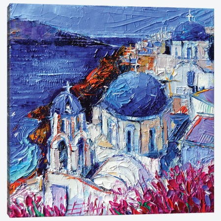 The Blue Domed Churches In Oia Santorini Canvas Print #MGE78} by Mona Edulesco Canvas Art Print