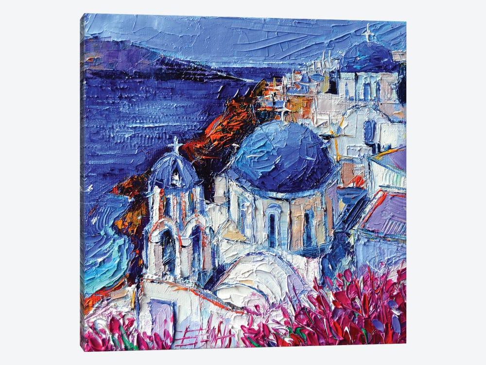 The Blue Domed Churches In Oia Santorini by Mona Edulesco 1-piece Canvas Art