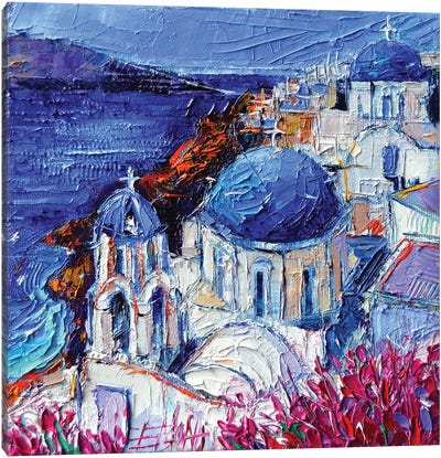 The Blue Domed Churches In Oia Santorini Canvas Art Print