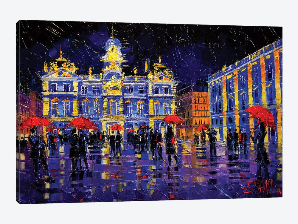 The Festival Of Lights In Lyon France by Mona Edulesco 1-piece Canvas Art