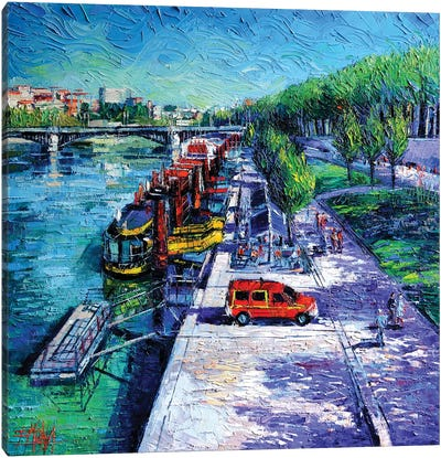 The Lively Banks Of Lyon Canvas Art Print