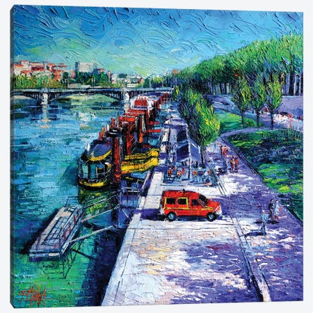 The Lively Banks Of Lyon Canvas Print #MGE82} by Mona Edulesco Canvas Artwork
